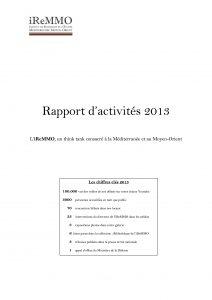 Rapport d'activités iReMMO 2013