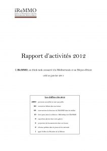 Rapport d'activités iReMMO 2012