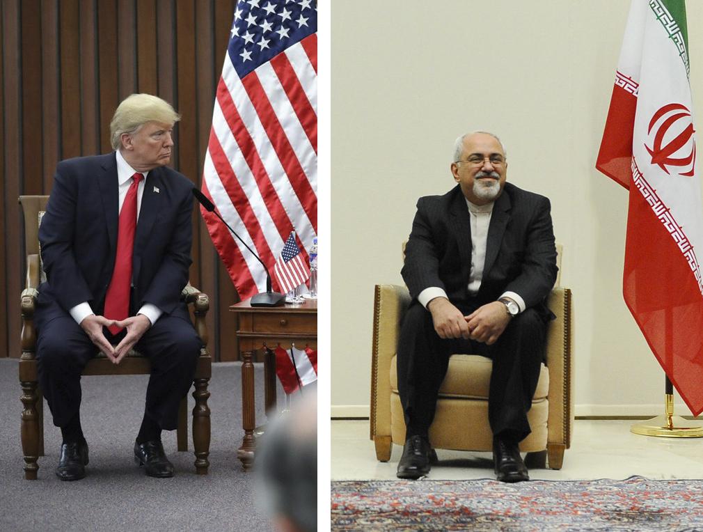 Donald Trump, président des États-Unis, et Mohammad Javad Zarif, ministre des Affaires étrangères iranien
