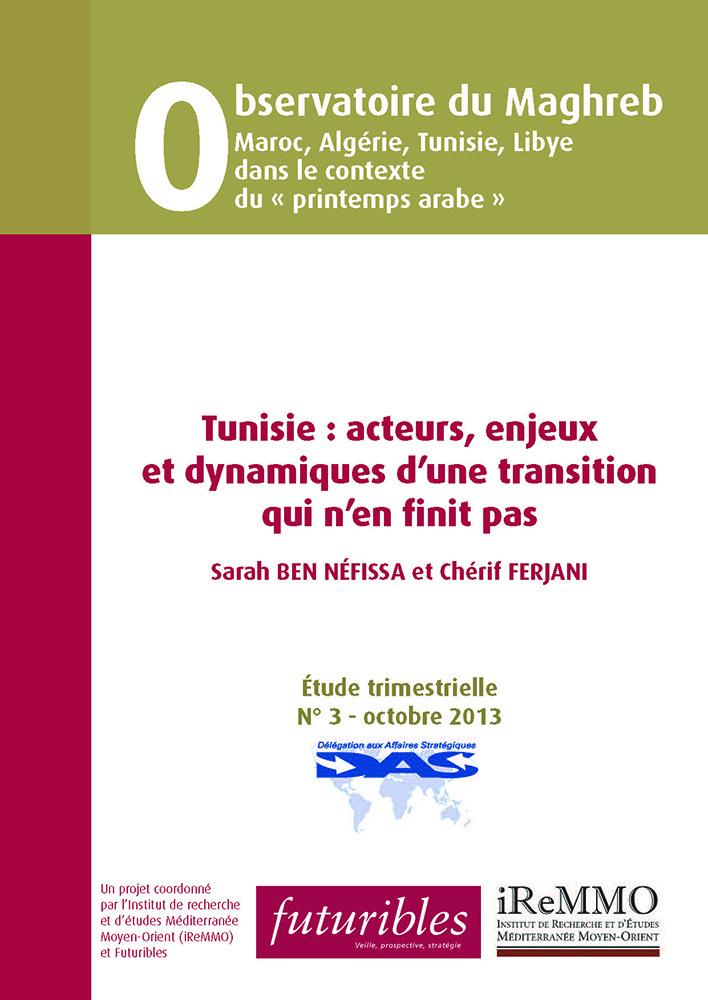 """Couverture du rapport de l'Observatoire du Maghreb """"Tunisie : acteurs, enjeux et dynamiques d'une transition qui n'en finit pas"""""""
