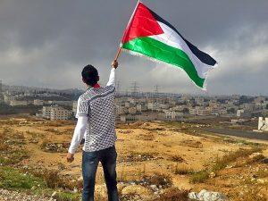 Jeune homme qui tient le drapeau palestinien sur une colline